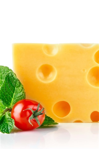 iPhone Wallpaper Cheese, tomatoes, white background