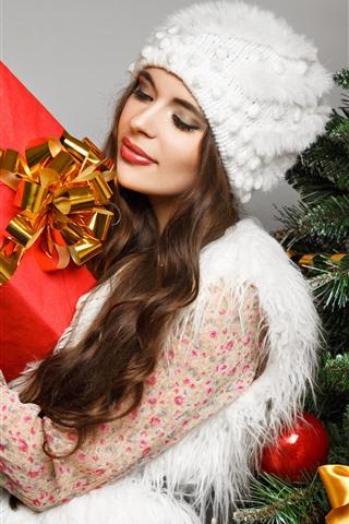 iPhone Wallpaper Christmas, girl, gift, box, Christmas tree