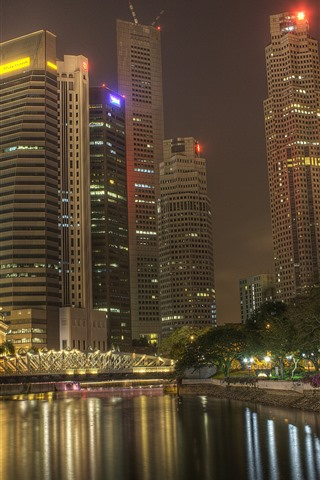 iPhoneの壁紙 都市、夜、川、高層ビル、ライト、木