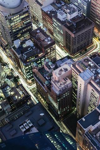 iPhone Wallpaper City, night, skyscrapers, roads, lights, top view