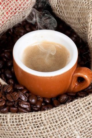 iPhone Papéis de Parede Café, xícara, café em grão, saco, vapor