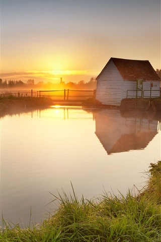 iPhone Wallpaper Countryside, house, river, fence, fog, morning, sunrise