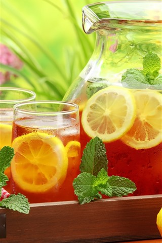 iPhone Wallpaper Drinks, lemon, glass cup, kettle, mint leaves