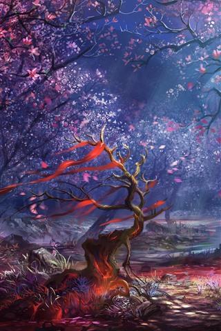 iPhone Papéis de Parede Floresta, árvores, flores, raios de luz, imagens de arte