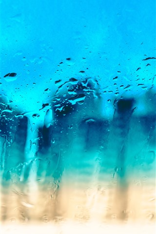 iPhone Wallpaper Glass surface, water droplets, blue