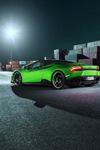 iPhone Wallpaper Green Lamborghini supercar rear view, dock, night