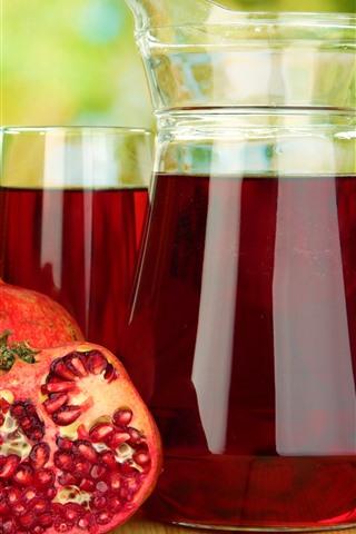 iPhone Wallpaper Juice, pomegranate, drinks, glass kettle