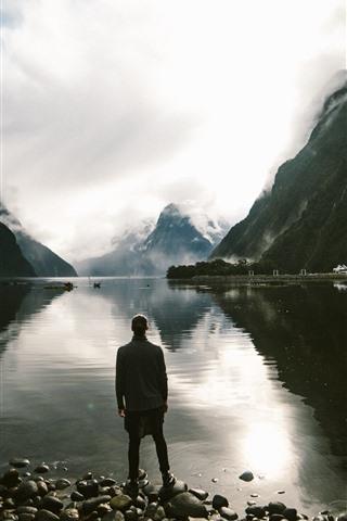 iPhone Wallpaper Lake, man, stones, mountains, clouds, dusk