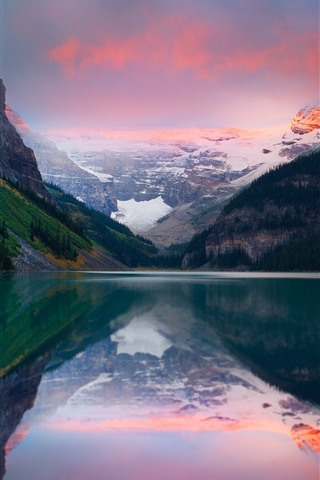 iPhone Wallpaper Lake, mountain, snow, water reflection, dusk