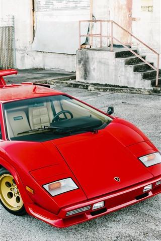 iPhone Wallpaper Lamborghini LP5000 red classic supercar