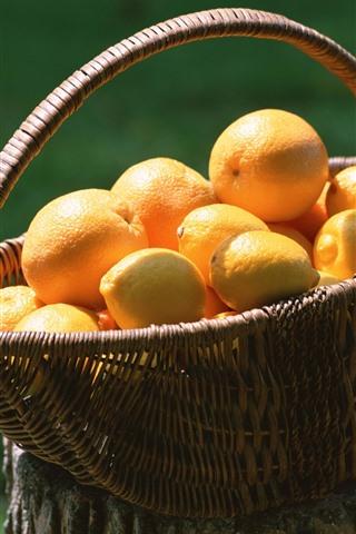 iPhone Wallpaper Lemon and orange, basket