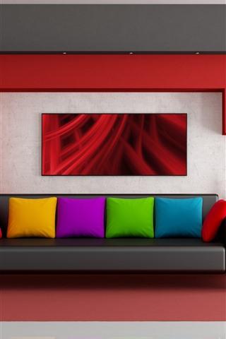 iPhone Обои Гостиная, диван, разноцветная подушка, тюльпаны, дизайн