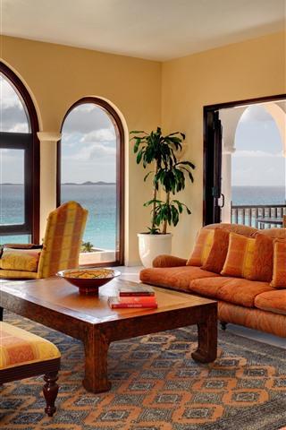 iPhone Обои Гостиная, диван, стол, стул, окно, море, интерьер