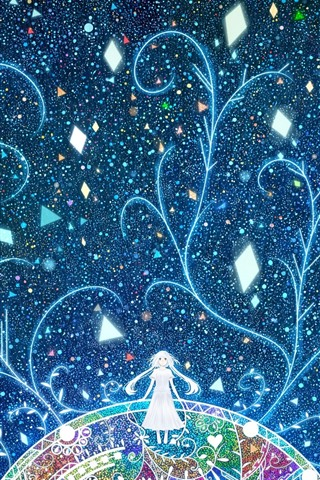 iPhone Wallpaper Long hair girl, abstract, colorful, trees, stars