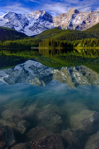 iPhone Wallpaper Mountain, lake, snow, trees, water reflection, nature
