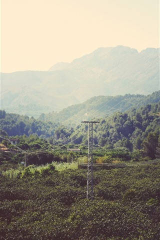 iPhone Wallpaper Mountains, trees, power lines, countryside