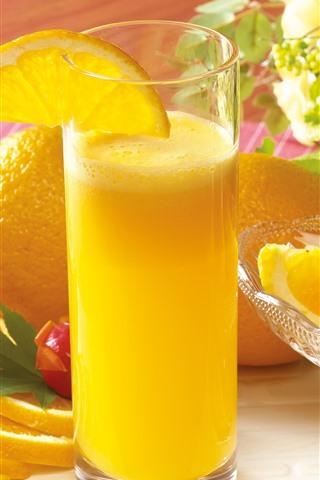 iPhone Wallpaper Oranges, orange juice, glass cup, drinks