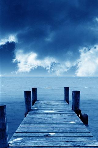 iPhone Wallpaper Pier, bridge, sea, blue, sky, clouds, coast