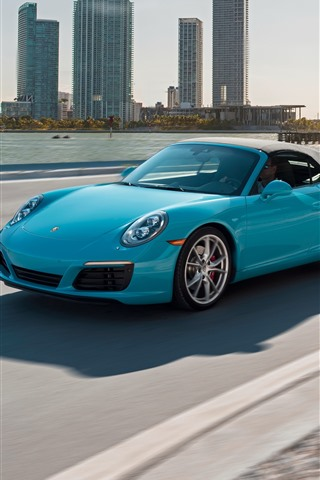 iPhone Wallpaper Porsche blue car, speed, road, city