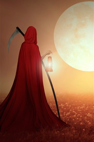 iPhone Wallpaper Reaper, red cape, field, house, moon