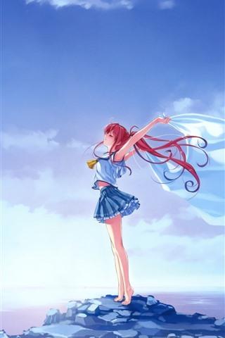 iPhoneの壁紙 赤毛アニメの女の子、自由、風