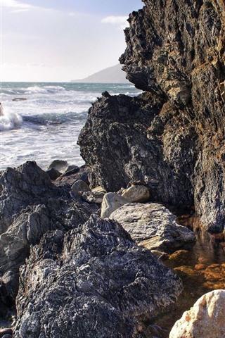 iPhone Wallpaper Rocks, sea, foam, sea waves