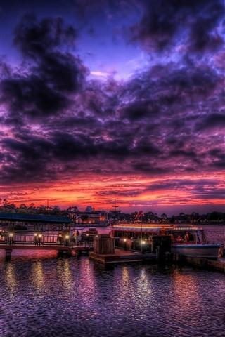 iPhone Wallpaper Sea, night, port, boat, lights, clouds, sky