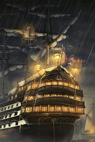 iPhone Wallpaper Ship, rain, night, sea, lights, art picture