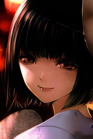 iPhoneの壁紙 短い髪の日本のアニメの女の子、マスク