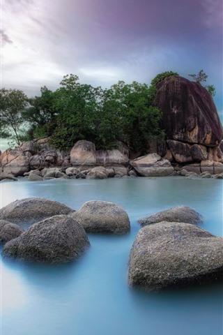 iPhone Wallpaper Stones, sea, island, nature scenery