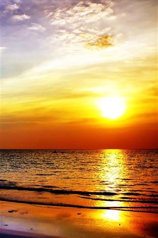 iPhone Wallpaper Sunset, beach, sea, clouds, palm trees, dusk