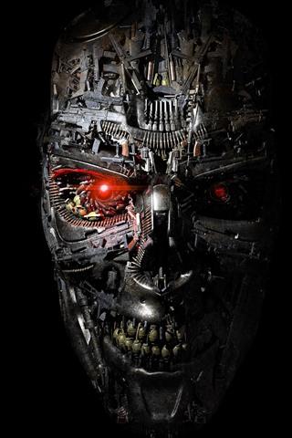 iPhone Fond d'écran Terminator, robot, visage, fond noir
