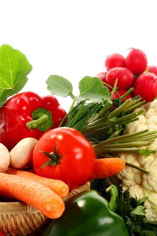 iPhone Wallpaper Vegetable, tomatoes, mushroom, cucumber, cauliflower, pepper