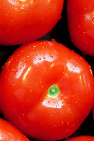 iPhoneの壁紙 野菜、いくつかのトマト、水滴