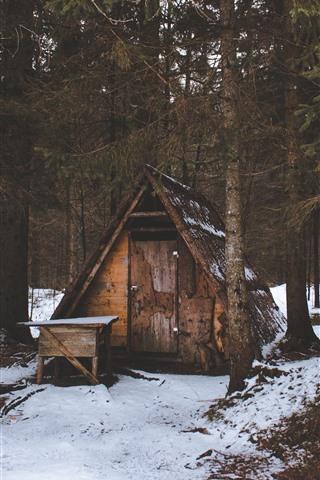 iPhone Wallpaper Winter, hut, trees, snow