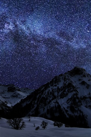 iPhone Wallpaper Winter, snow, mountains, night, starry, stars
