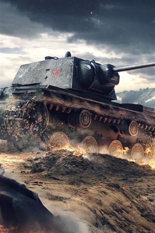 iPhone Wallpaper World of Tanks, war, dust, clouds