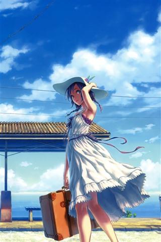 iPhoneの壁紙 アニメの女の子、スカート、帽子、駅、雲