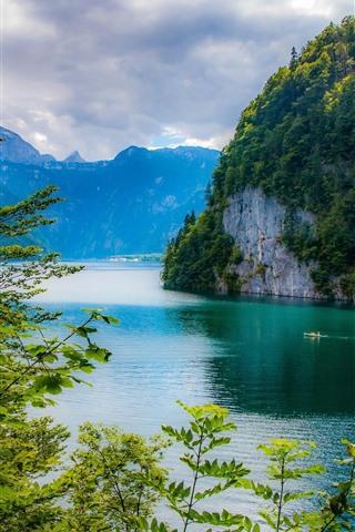 iPhone Wallpaper Bavaria, Germany, lake, mountains, trees, green, beautiful scenery