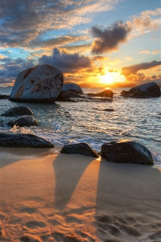 iPhone Wallpaper Beach, sands, rocks, sea, sunset, shadow