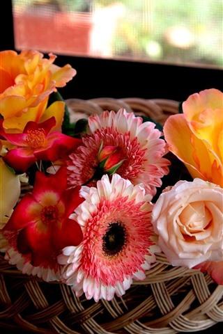 iPhone Wallpaper Beautiful flowers, basket, interior