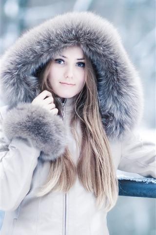 iPhone Wallpaper Blonde girl, coat, winter, snow