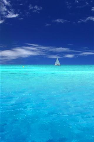 iPhone Wallpaper Blue sea, yachts