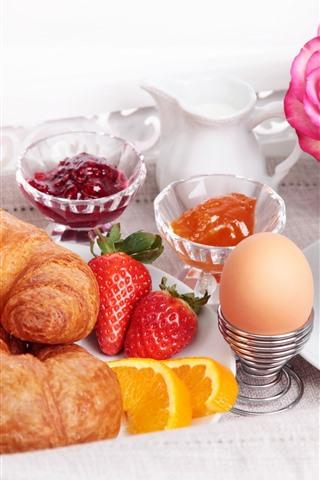 iPhoneの壁紙 パン、卵、イチゴ、ジュース、コーヒー、バラ、朝食