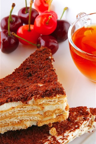 iPhone Wallpaper Breakfast, cake, tea, cherry