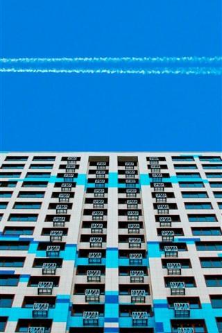 iPhone Wallpaper Buildings, windows, terrace, blue sky, smoke, airplane