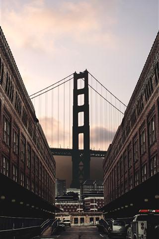 iPhone Wallpaper City, buildings, street, cars, bridge, dusk