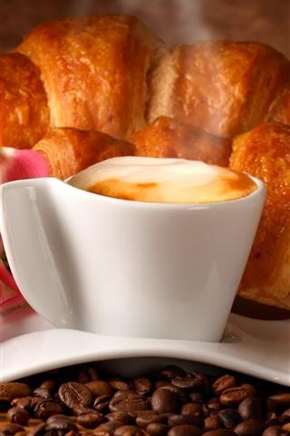 iPhone Papéis de Parede Café, xícara, espuma, flores, pão, comida