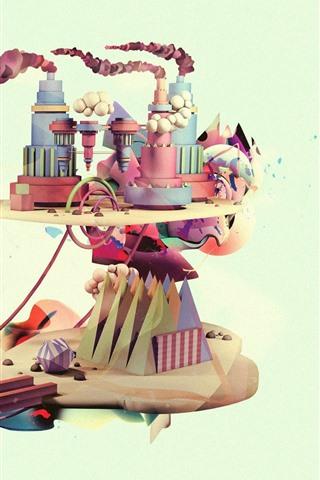 iPhoneの壁紙 クリエイティブな写真、工場、煙、風車