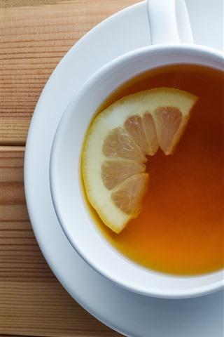 iPhone Wallpaper Cup, tea, lemon, mint
